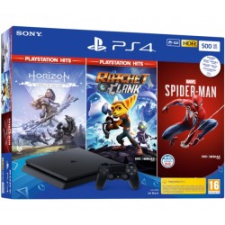 SONY PS4 500GB F CHASSIS & MARVEL'S SPIDERMAN & HORIZON ZERO DAWN COMPLETE EDITION HITS & RATCHET & CLANK HITS - PS719392101